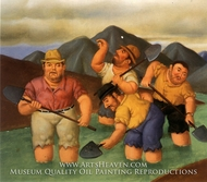 Esmeralderos painting reproduction, Fernando Botero