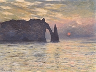 Etretat, Setting Sun painting reproduction, Claude Monet
