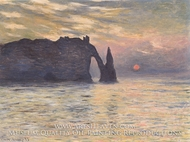 Etretat, Setting Sun by Claude Monet