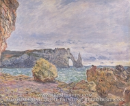 Etretat, the Beach and the Porte d'Aval by Claude Monet