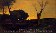 Evening at Medfield, Massachusetts painting reproduction, George Inness