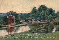 Evening at the Lock, Napanoch, New York painting reproduction, Theodore Robinson