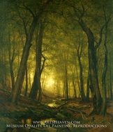 Evening in the Woods painting reproduction, Worthington Whittredge