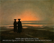 Evening Landscape with Two Men by Caspar David Friedrich