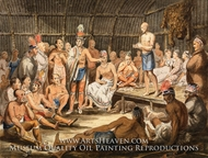 Exhibition of Indian Tribal Ceremonies at the Olympic Theater, Philadelphia painting reproduction, Pavel Petrovich Svinin