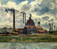 Factory Near Pontoise painting reproduction, Camille Pissarro