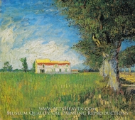 Farmhouse in a Wheatfield by Vincent Van Gogh