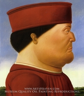 Federico da Montefeltro (after Piero della Francesca) painting reproduction, Fernando Botero