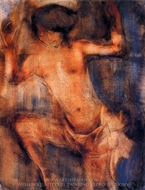 Female Nude Dancing painting reproduction, Christian Rohlfs
