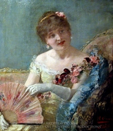 Femme A Leventail 01 painting reproduction, Henri Gervex
