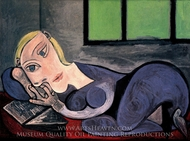 Femme Allongee Lisant (Marie-Therese) painting reproduction, Pablo Picasso (inspired by)