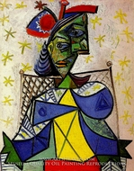 Femme Assise au Chapeau Bleu et Rouge by Pablo Picasso (inspired by)