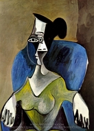 Femme Assise dans un Fauteuil Bleu painting reproduction, Pablo Picasso (inspired by)