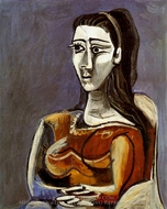 Femme Assise dans un Fauteuil (Jacqueline) painting reproduction, Pablo Picasso (inspired by)