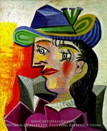 Femme au Chapeau Bleu by Pablo Picasso (inspired by)