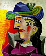 Femme au Chapeau Bleu painting reproduction, Pablo Picasso (inspired by)