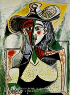 Femme au Grand Chapeau by Pablo Picasso (inspired by)