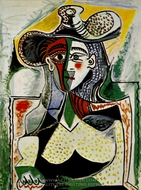 Femme au Grand Chapeau painting reproduction, Pablo Picasso (inspired by)