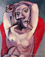 Femme dans un Fauteuil Rouge by Pablo Picasso (inspired by)