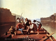 Ferrymen Playing Cards painting reproduction, George Caleb Bingham