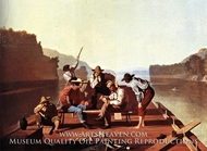 Ferrymen Playing Cards by George Caleb Bingham