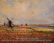 Field of Flowers and Windmills near Leiden by Claude Monet