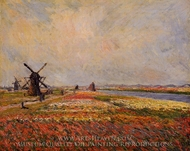 Field of Flowers and Windmills near Leiden painting reproduction, Claude Monet