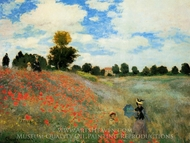 Field of Poppies, Argenteuil painting reproduction, Claude Monet