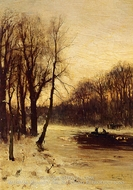 Figures in a Winter Landscape at Dusk by Louis Apol