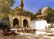 Figures in the Courtyard of a Mosque painting reproduction, Edwin Lord Weeks