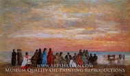 Figures on the Beach at Trouville by Eugene-Louis Boudin