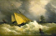 First Come, First Served, A Pilot Cutter Racing to a Ship painting reproduction, Richard Brydges Beechey