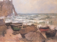 Fishing Boats and the Porte d'Aval painting reproduction, Claude Monet