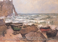 Fishing Boats and the Porte d'Aval by Claude Monet