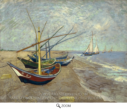 Painting Reproduction of Fishing Boats on the Beach, Vincent Van Gogh