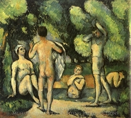 Five Bathers painting reproduction, Paul Cezanne