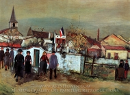 Flag Over the Town Hall painting reproduction, Maurice Utrillo