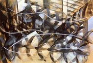 Flight of the Swallows painting reproduction, Giacomo Balla