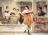 Flirtation at the Well painting reproduction, Eugene De Blaas