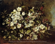 Floweing Apple Tree Branch painting reproduction, Gustave Courbet