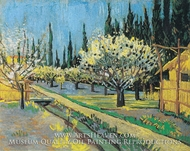 Flowering Orchard, Surrounded by Cypress by Vincent Van Gogh