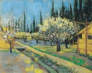 Flowering Orchard, Surrounded by Cypress painting reproduction, Vincent Van Gogh