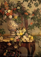 Flowers painting reproduction, Jean Frederic Bazille