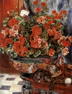 Flowers and Cats painting reproduction, Pierre-Auguste Renoir