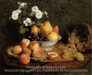 Flowers and Fruit on a Table painting reproduction, Henri Fantin-Latour