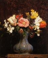 Flowers: Camelias and Tulips painting reproduction, Henri Fantin-Latour