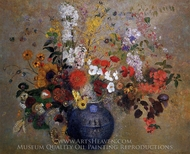 Flowers in a Blue Vase painting reproduction, Odilon Redon