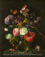 Flowers in a Glass Vase painting reproduction, Jacob Van Walscappelle