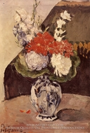 Flowers in a Small Deflt Vase painting reproduction, Paul Cezanne