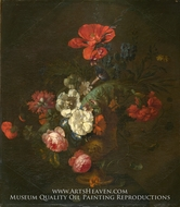 Flowers in a Stone Vase by Jan Van Huysum